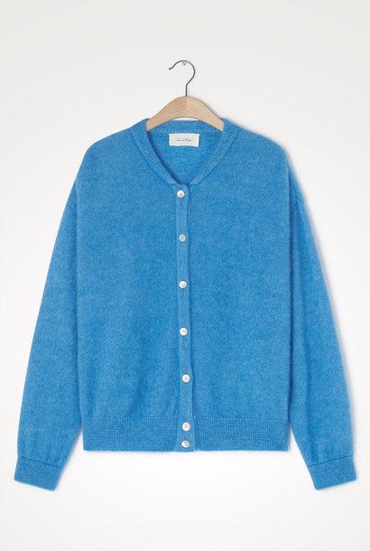 Zabidoo blauw gebreid wollen vest