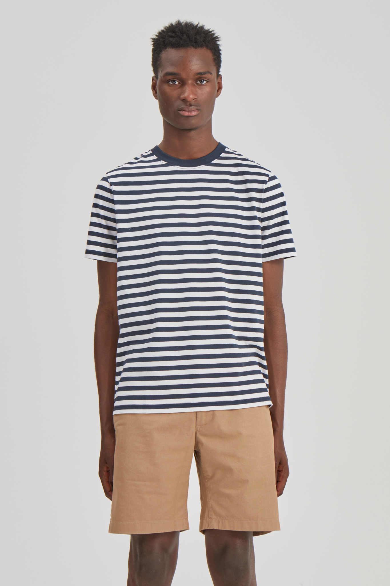 Sami Classic Streep T-Shirt Navy-Wit-4
