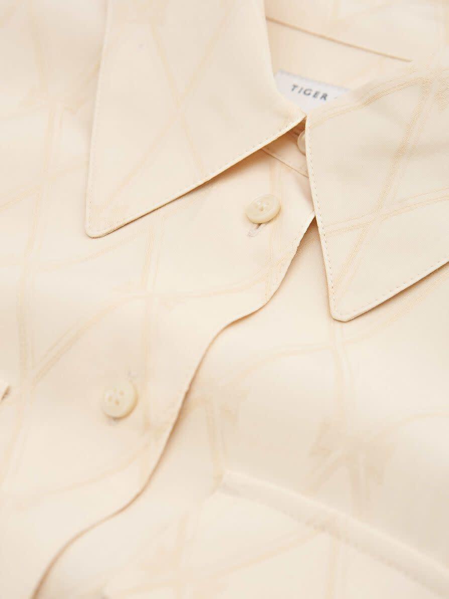Vedos Long Blouse Cream White Artwork-3