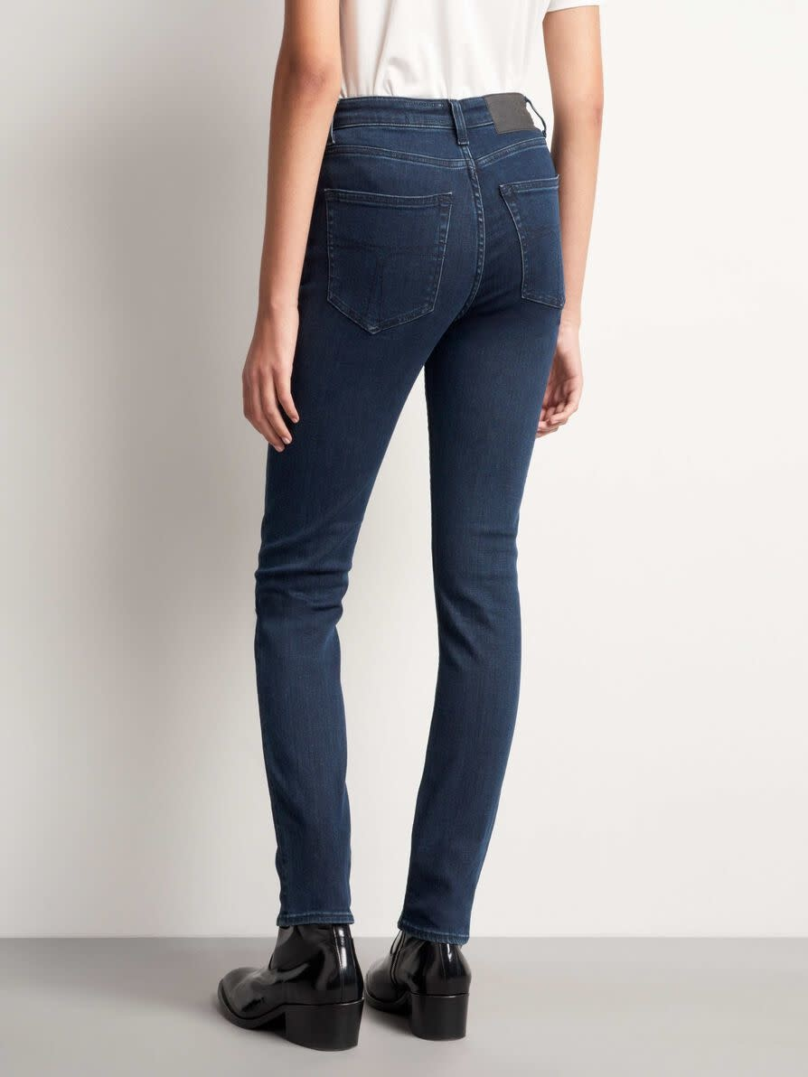 Shelly hoge taille slim fit jeans donker blauw-2