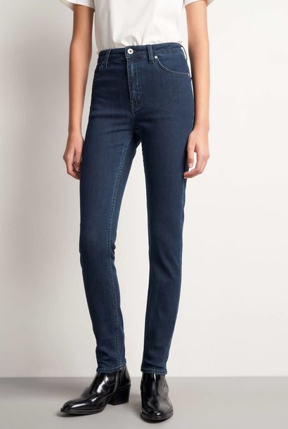 Shelly hoge taille slim fit jeans donker blauw