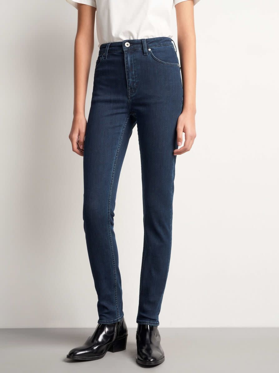 Shelly hoge taille slim fit jeans donker blauw-1