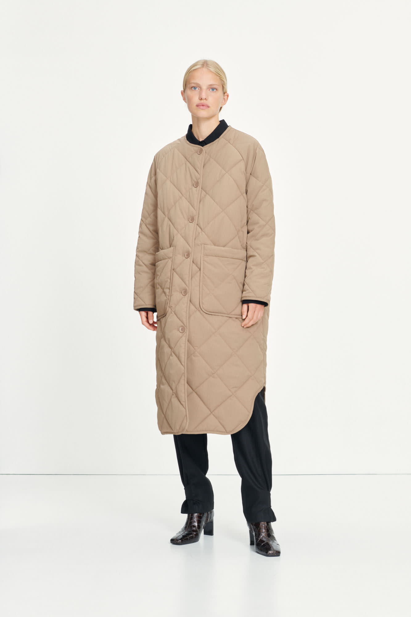 Rute Quilted Coat Caribou Brown-2