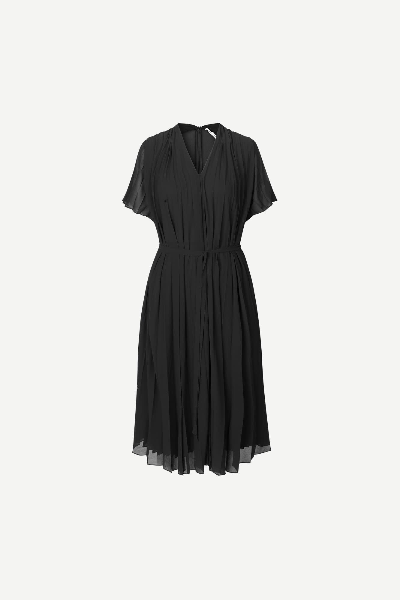Wala Short Sleeve Pleaded Dress Black-3