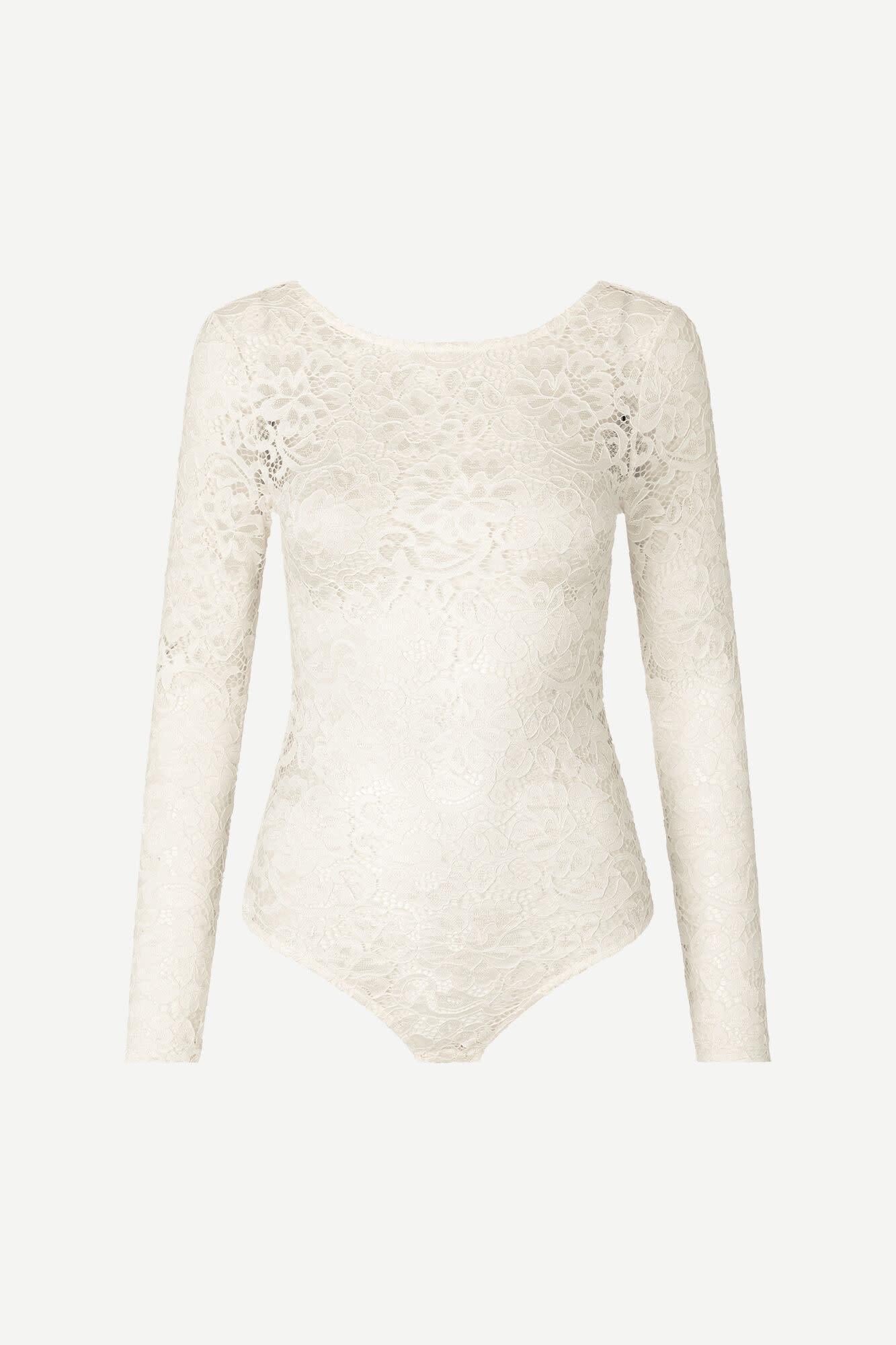 Maalika Lace Body Stocking Ecru White-2