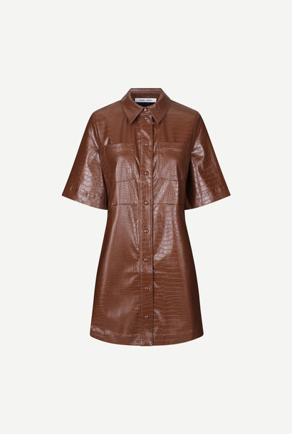 Myla Faux Leather Dress Chocolate Brown