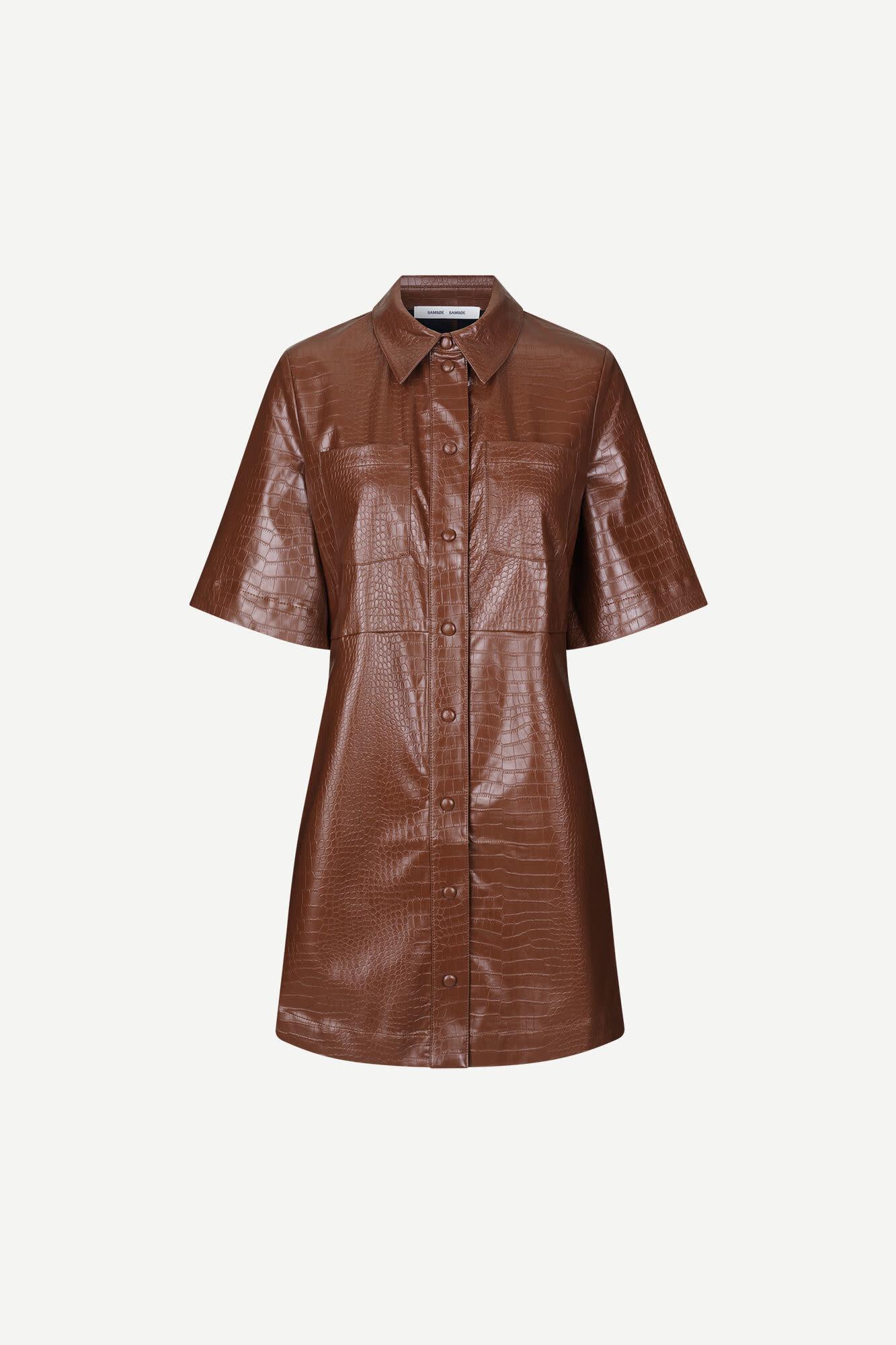 Myla Faux Leather Dress Chocolate Brown-1