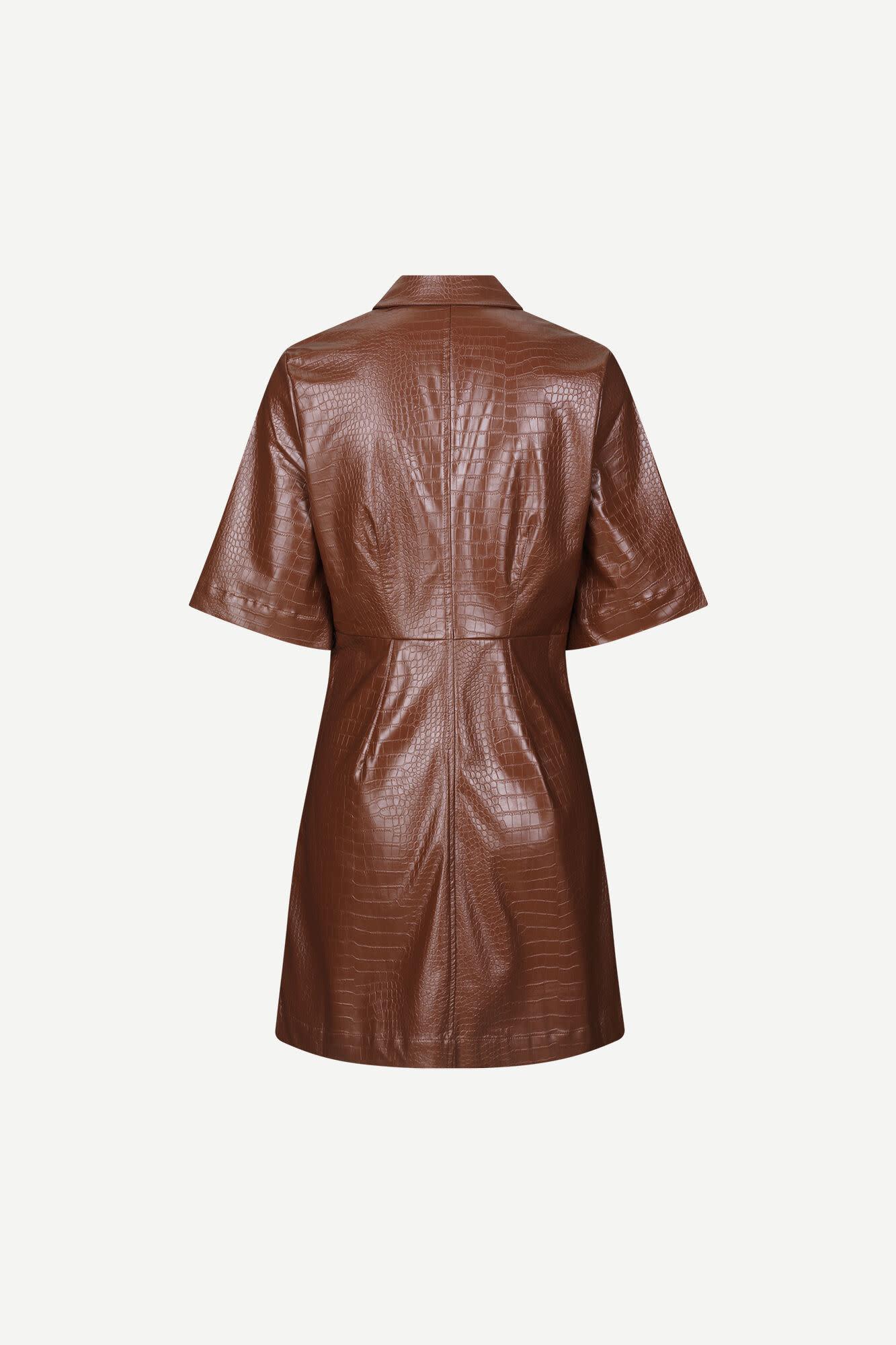 Myla Faux Leather Dress Chocolate Brown-2