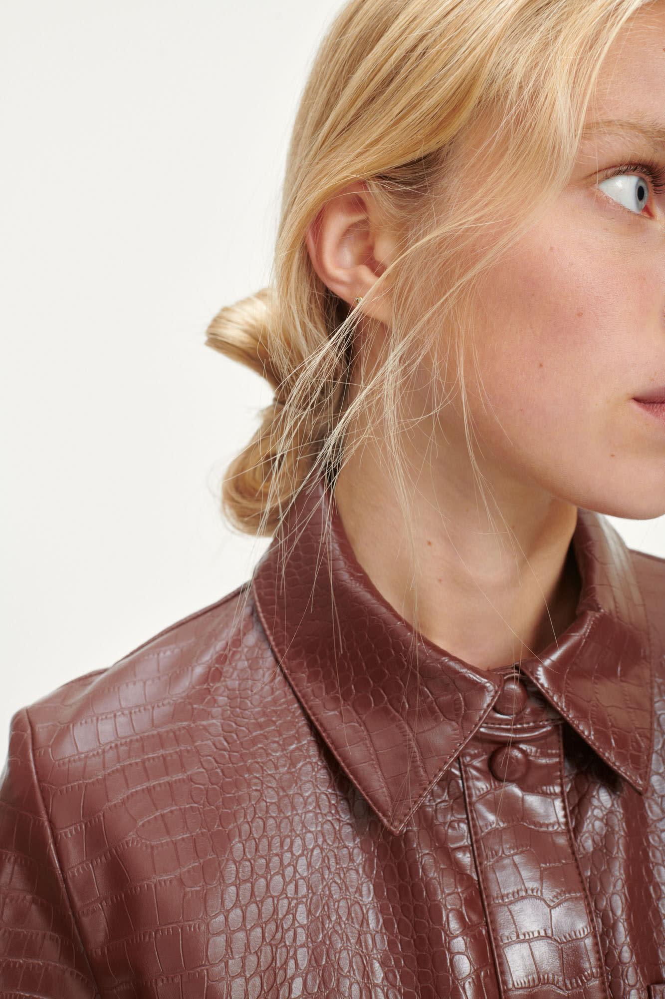 Myla Faux Leather Dress Chocolate Brown-3