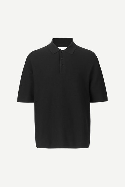 Leon Oversized Polo Black Knitted