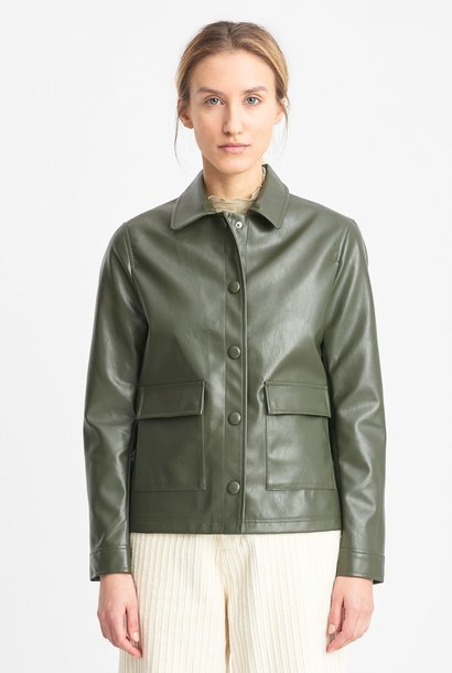 Sissel Faux Leather Jacket Olive Green