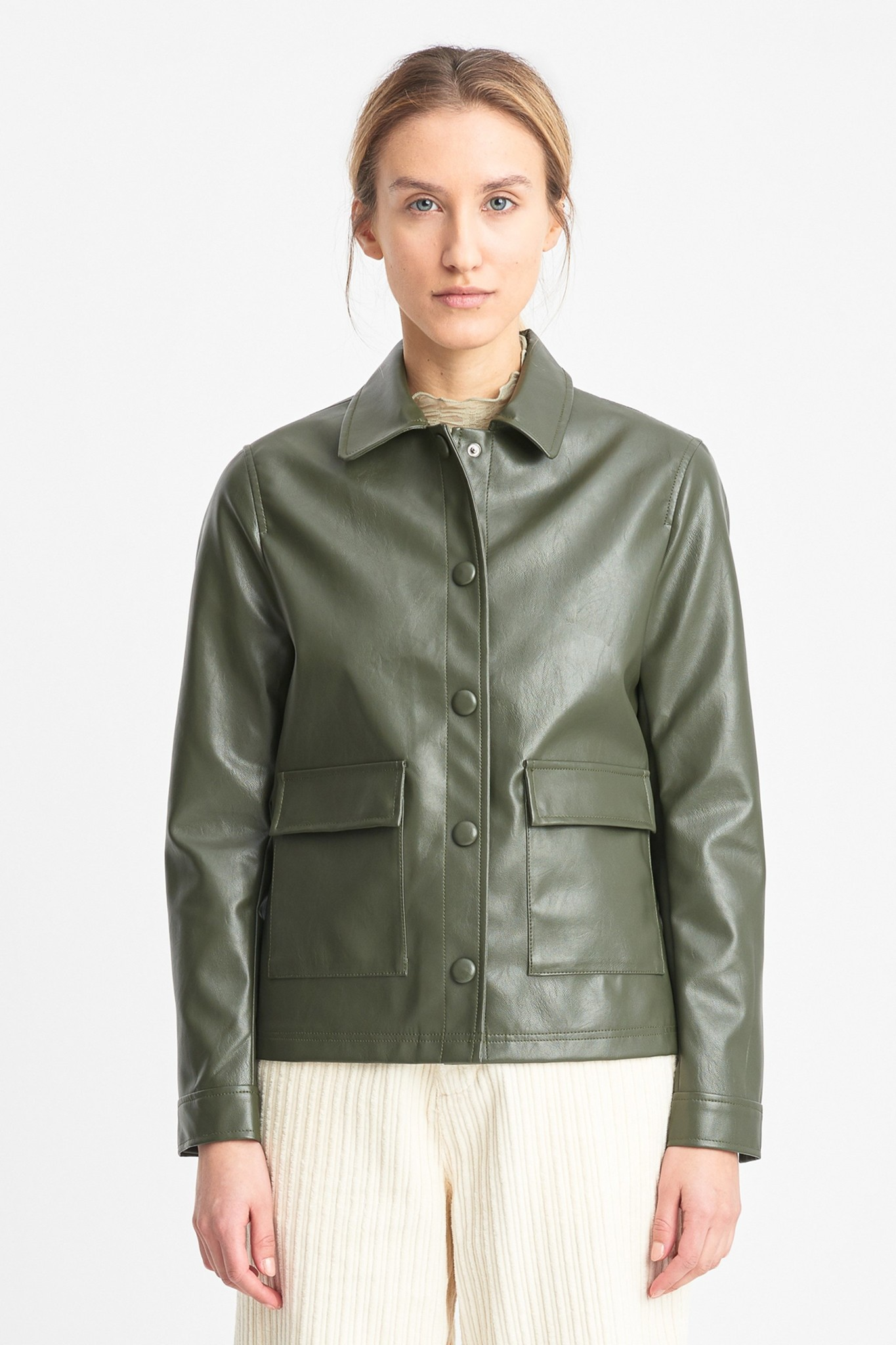 Sissel Faux Leather Jacket Olive Green-1