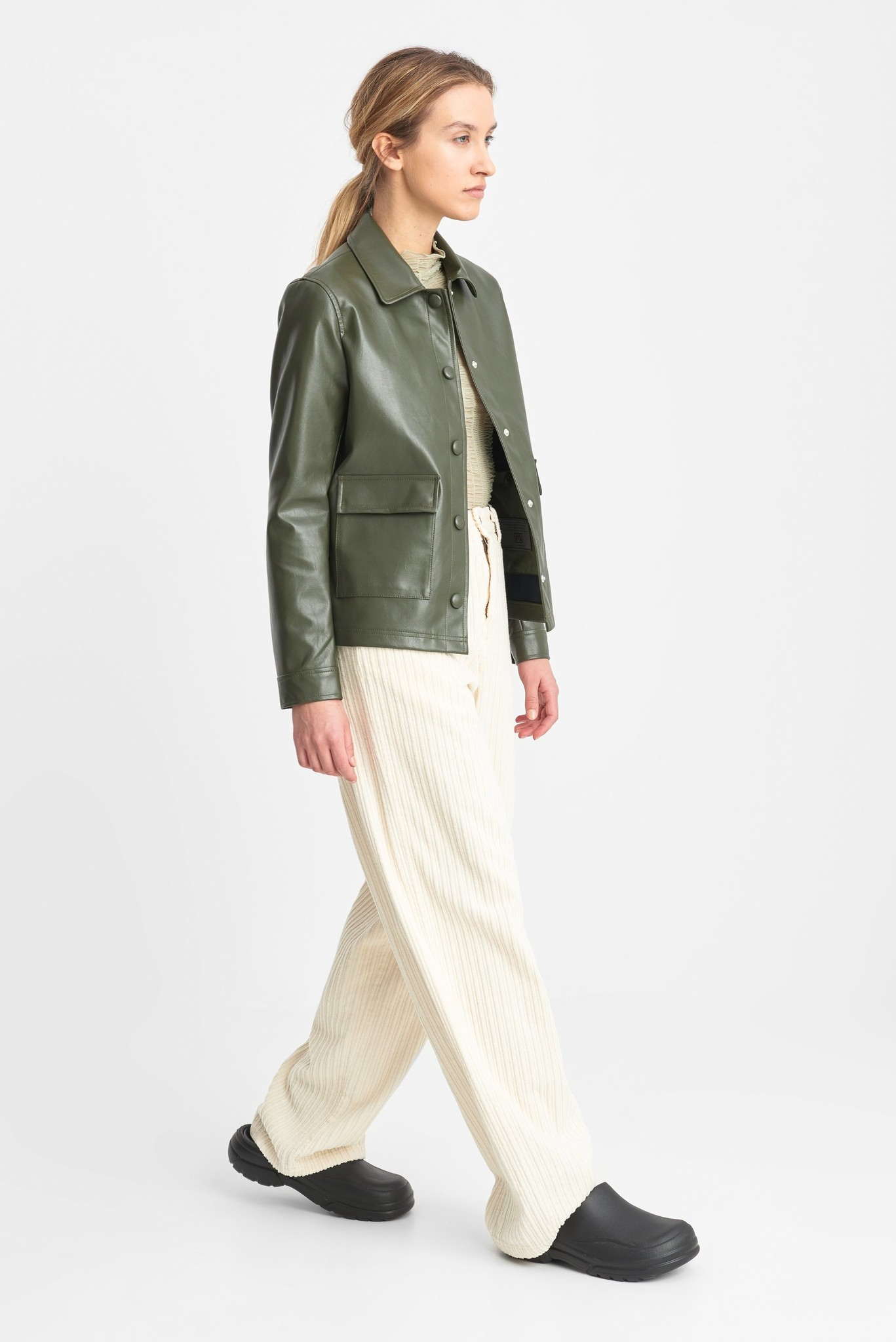 Sissel Faux Leather Jacket Olive Green-2