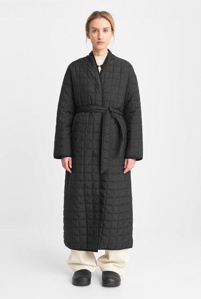 Lila lange gewatteerde oversized jas zwart