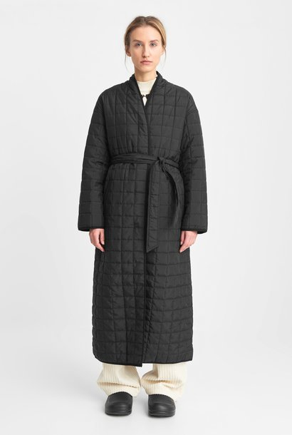 Lila Long Quilted Oversized Coat Black