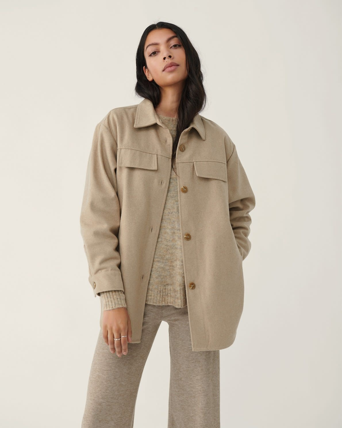 Maude White Pepper Overshirt Jacket-3