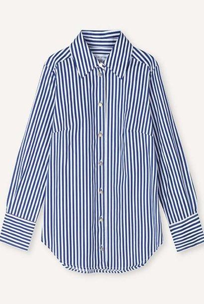 Chablis Royal Stripe Blouse Wit-Blauw