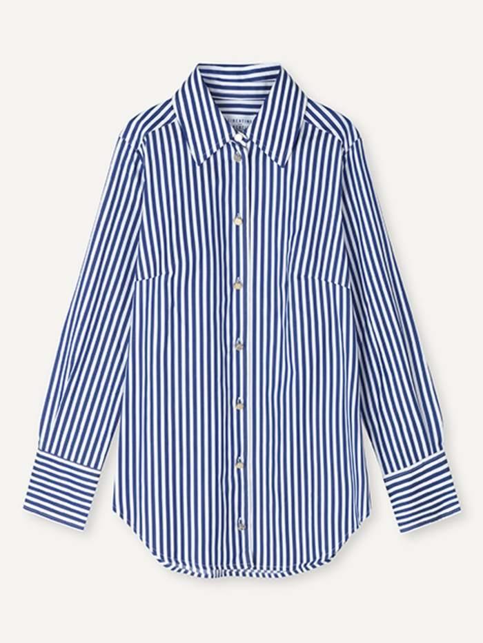 Chablis Royal Stripe Shirt White Blue-1