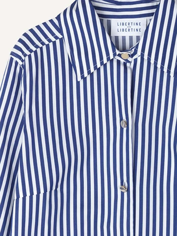 Chablis Royal Stripe Shirt White Blue-2