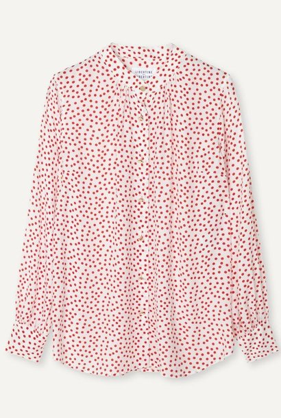Polly Fire Red Polka Dot Shirt