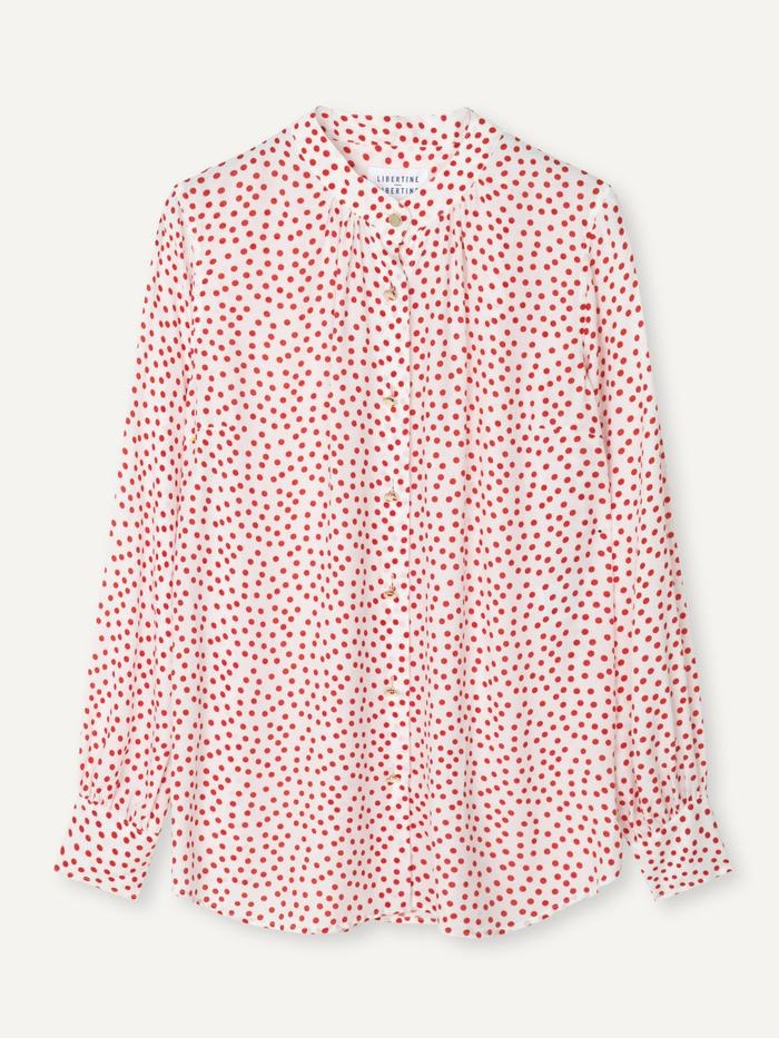 Polly Fire Red Polka Dot Shirt-1