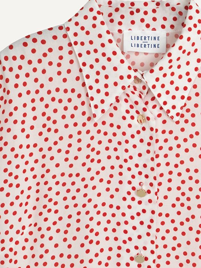 Polly Fire Red Polka Dot Shirt-2