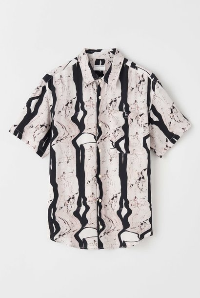 Didon Short Sleeve Black White Artwork Shirt