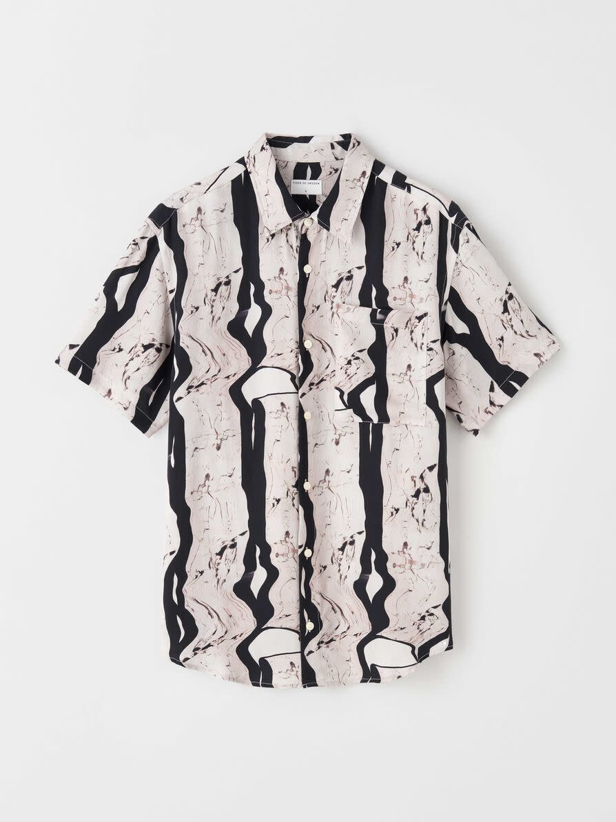 Didon Short Sleeve Black White Artwork Shirt-1