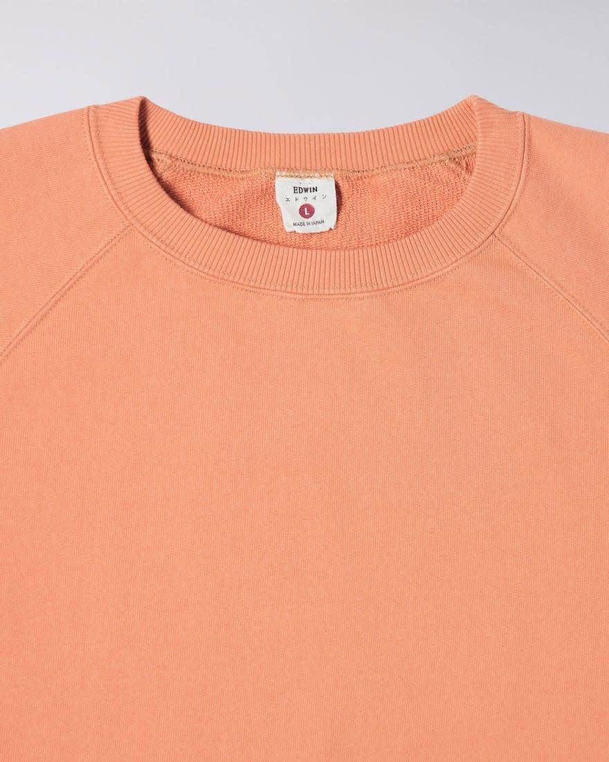 Raglan Sleeve Rinsed Made In Japan Crewneck Soft Orange-4