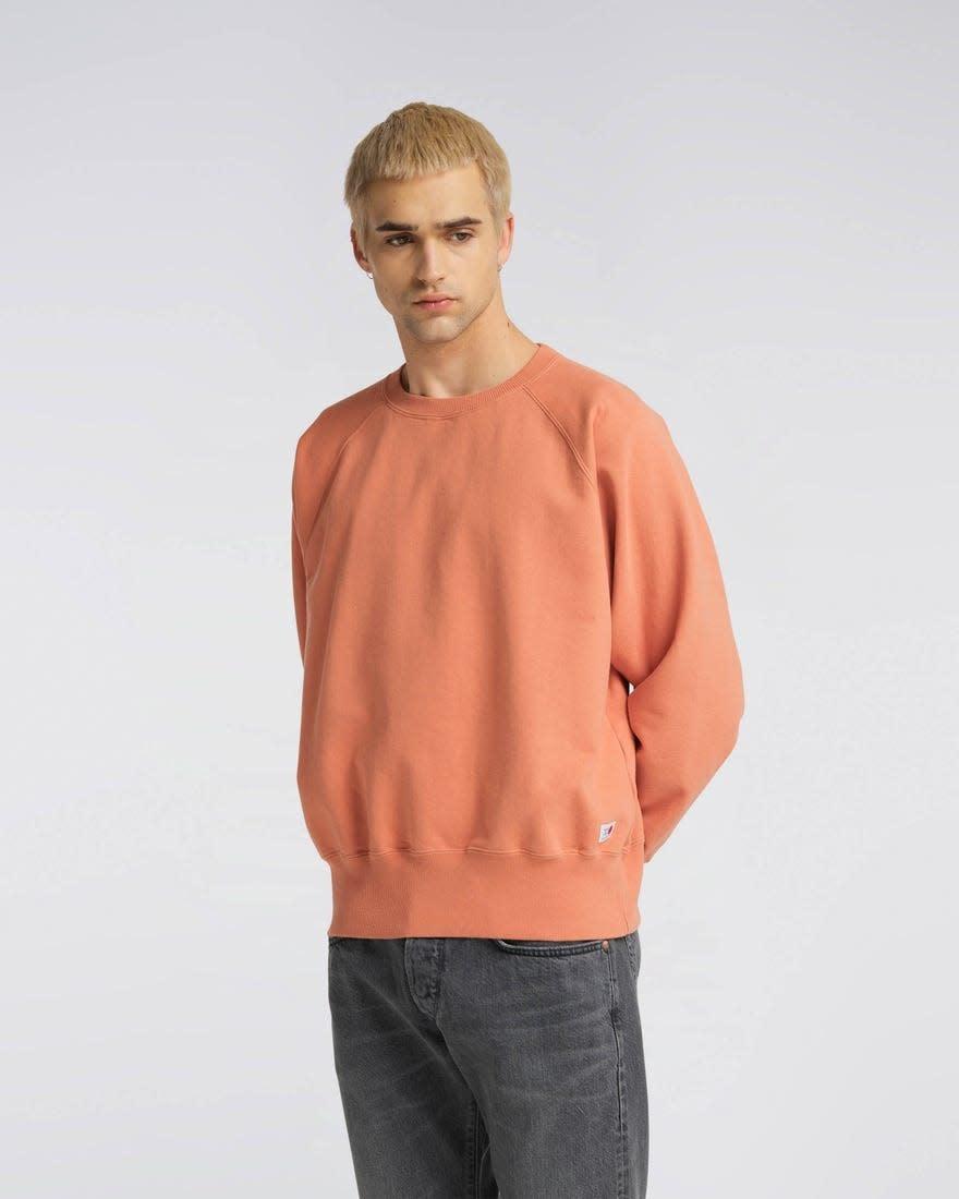 Raglan Sleeve Rinsed Made In Japan Crewneck Soft Orange-2