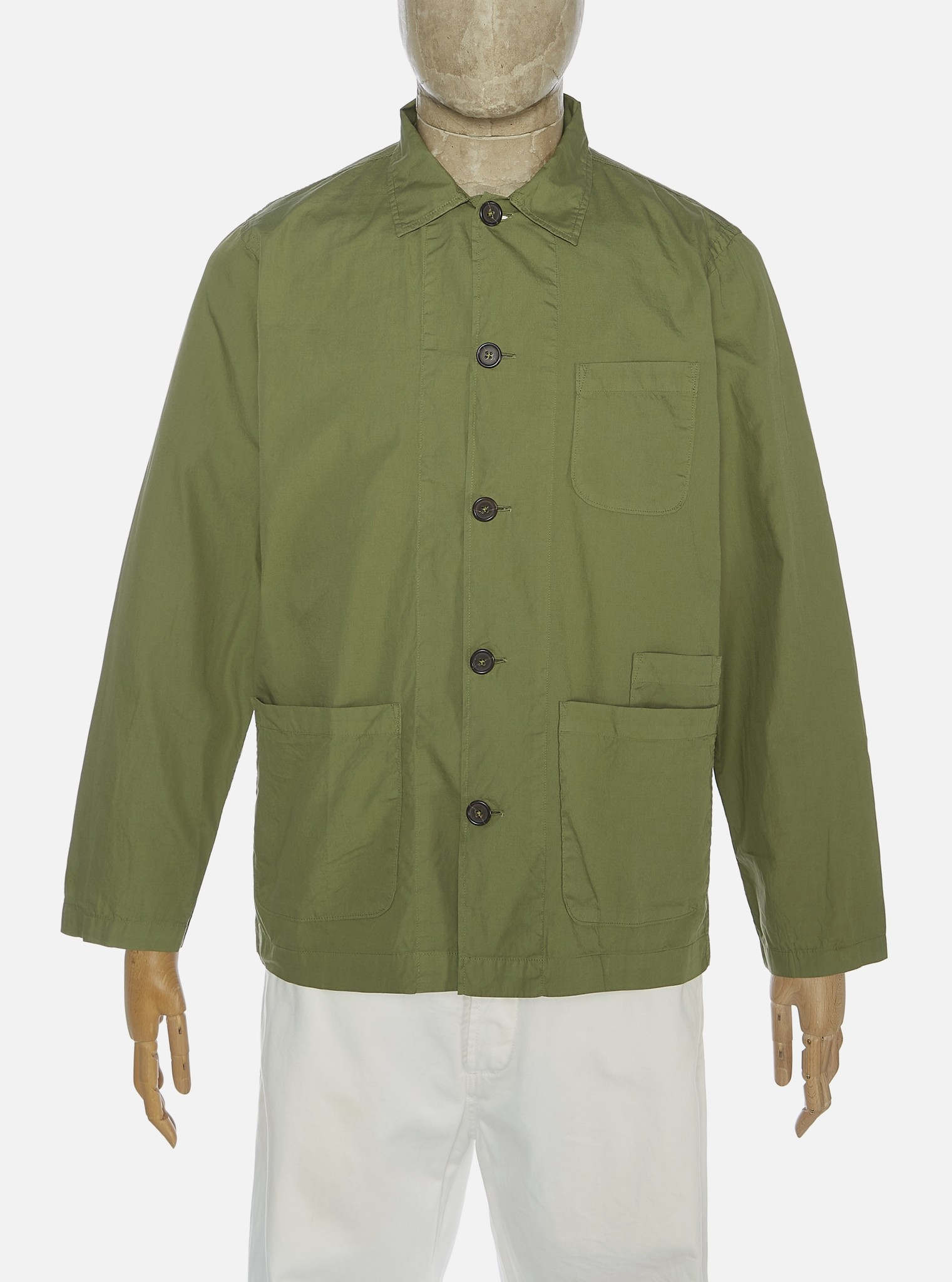 Bakers Poplin Overshirt Olive Green-1