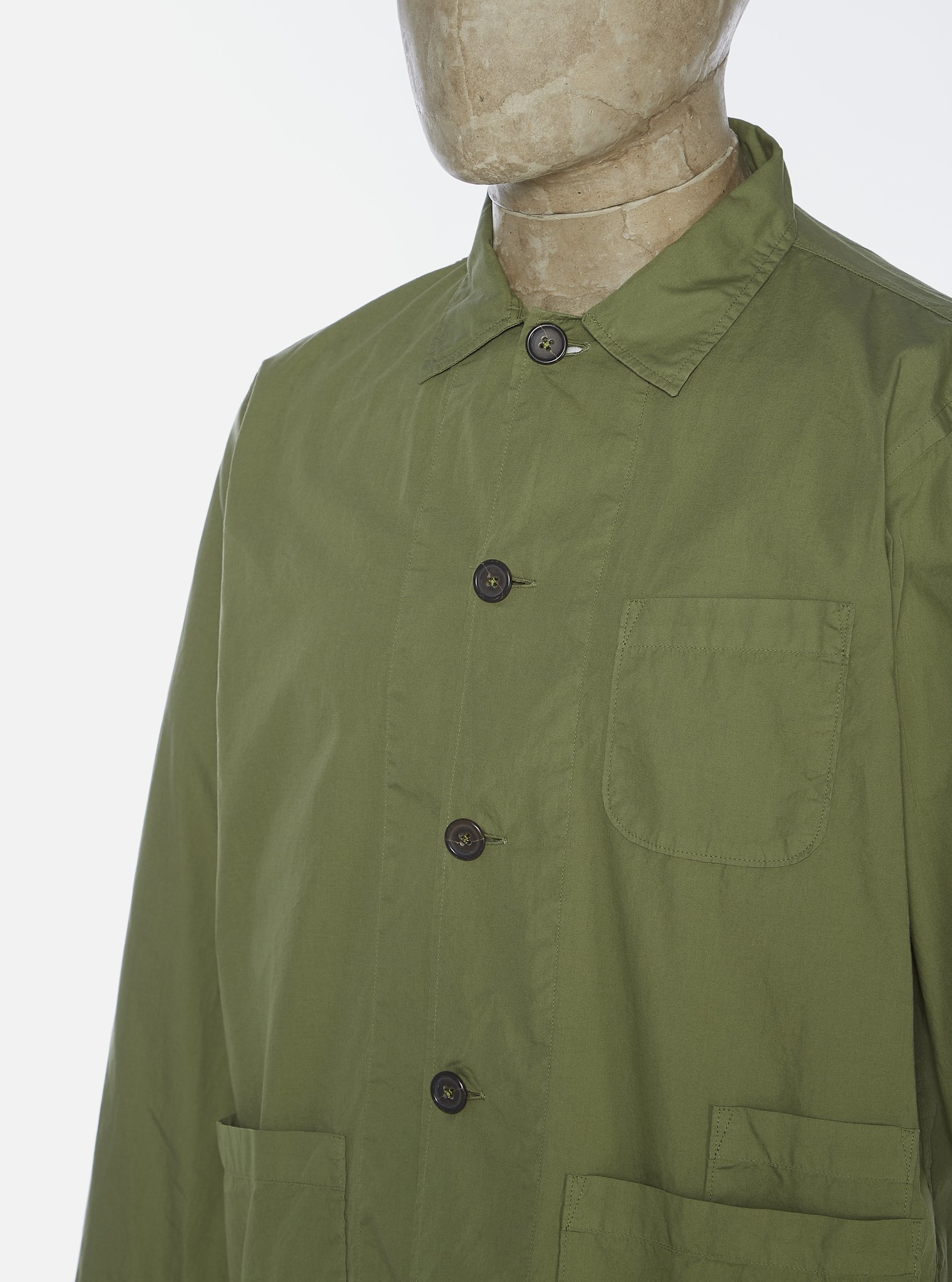 Bakers Poplin Overshirt Olive Green-2