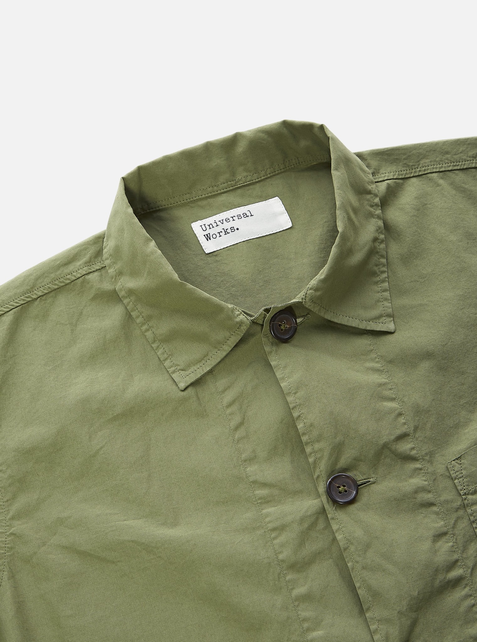 Bakers Poplin Overshirt Olive Green-3