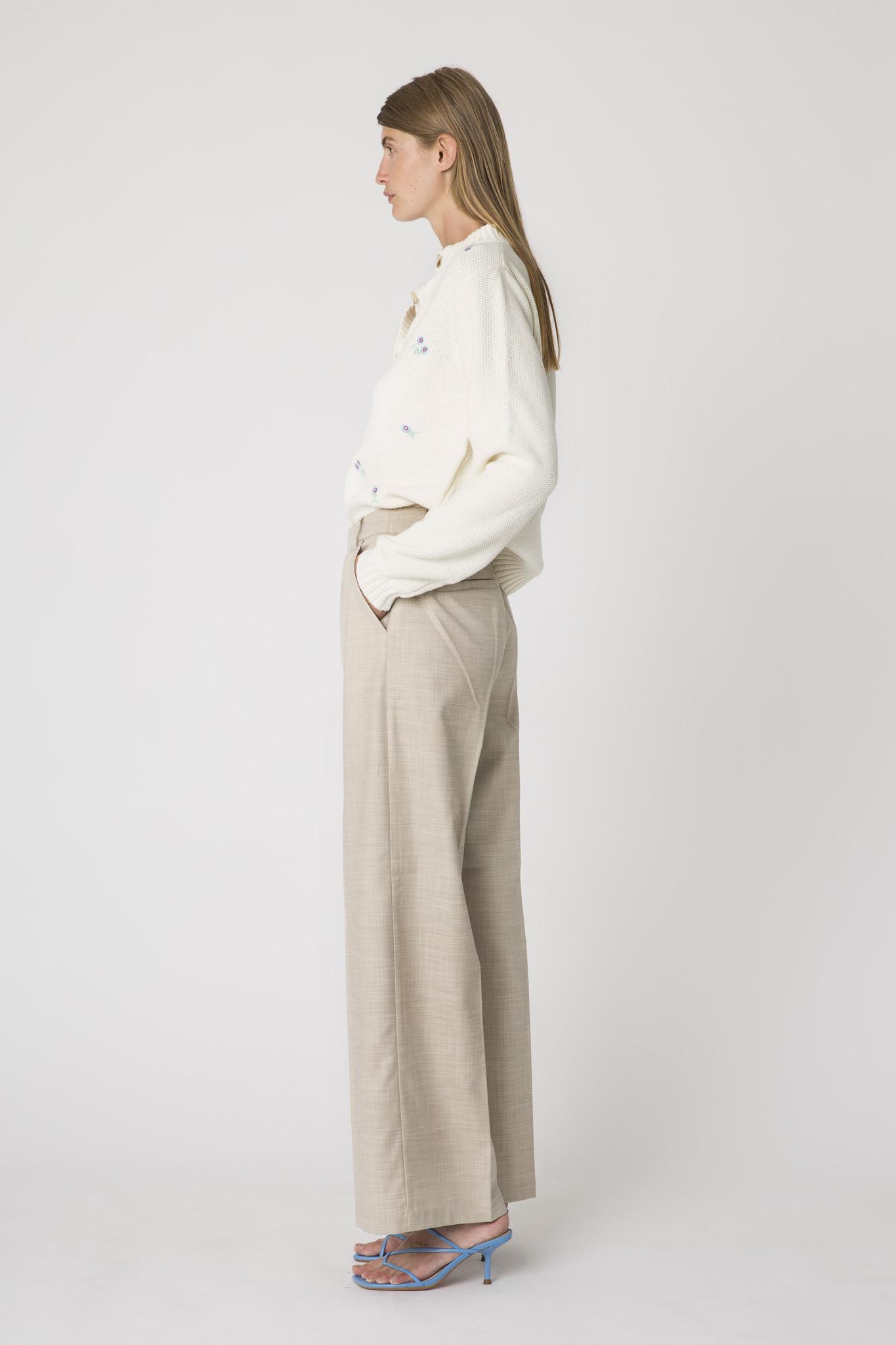 Dalia Pants High Wide Oat Ecru-1