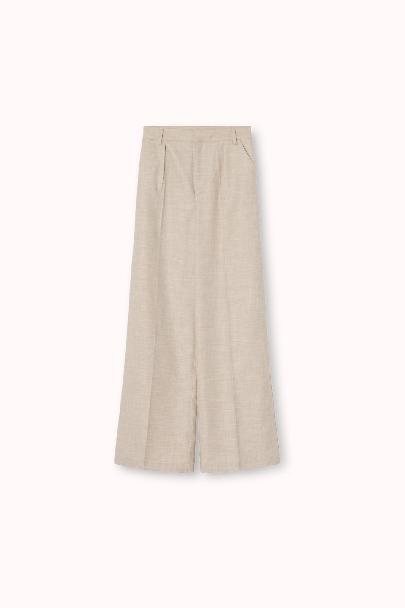 Dalia Pants High Wide Oat Ecru-2