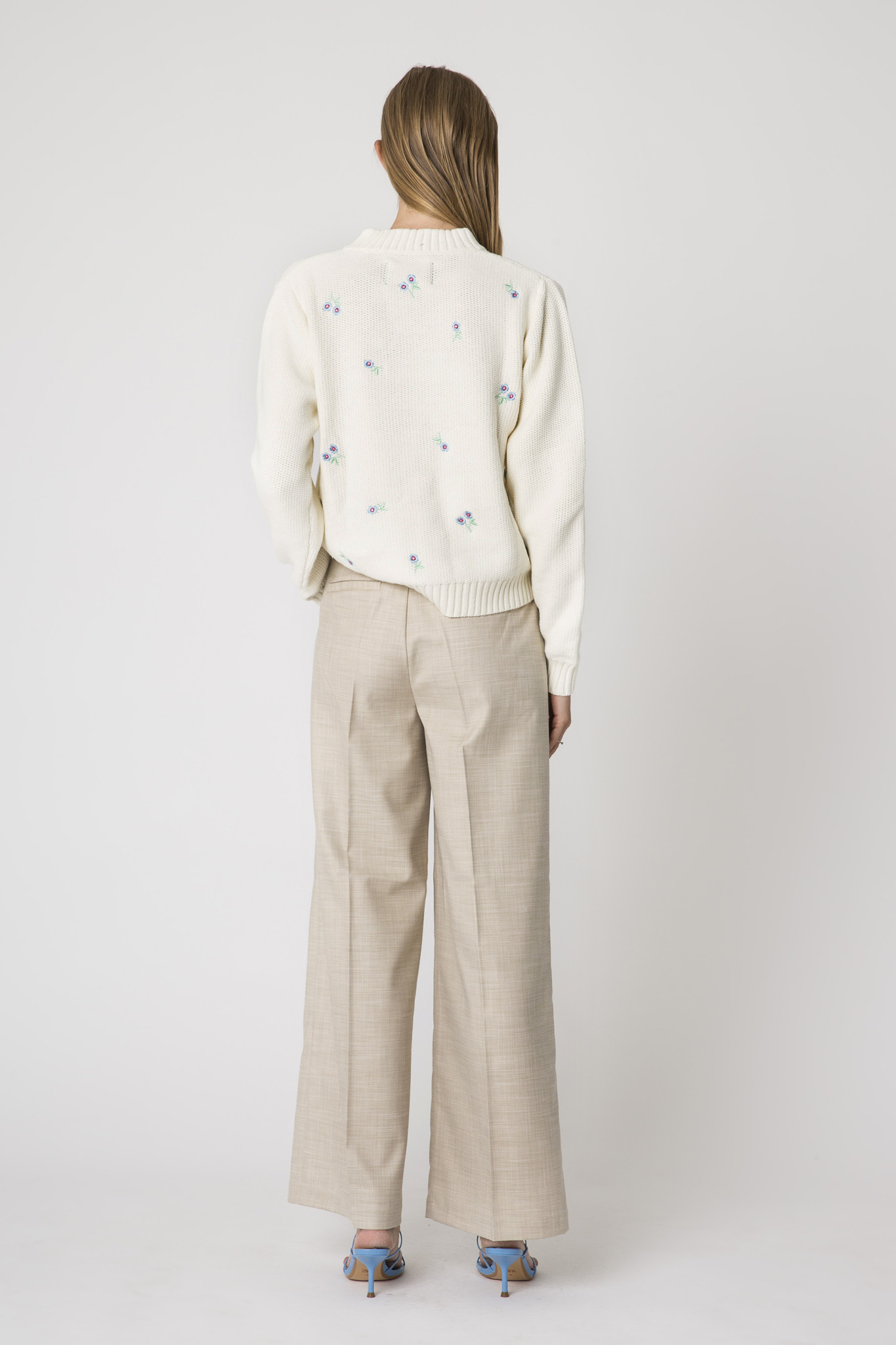 Dalia Pants High Wide Oat Ecru-3