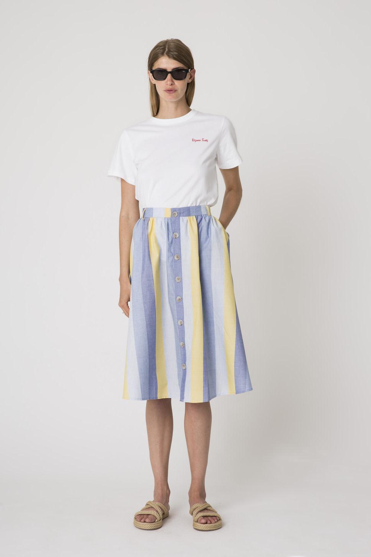 Denver Cotton Stripe Skirt Yellow-1