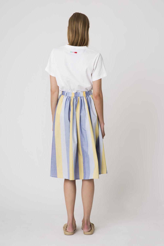 Denver Cotton Stripe Skirt Yellow-3