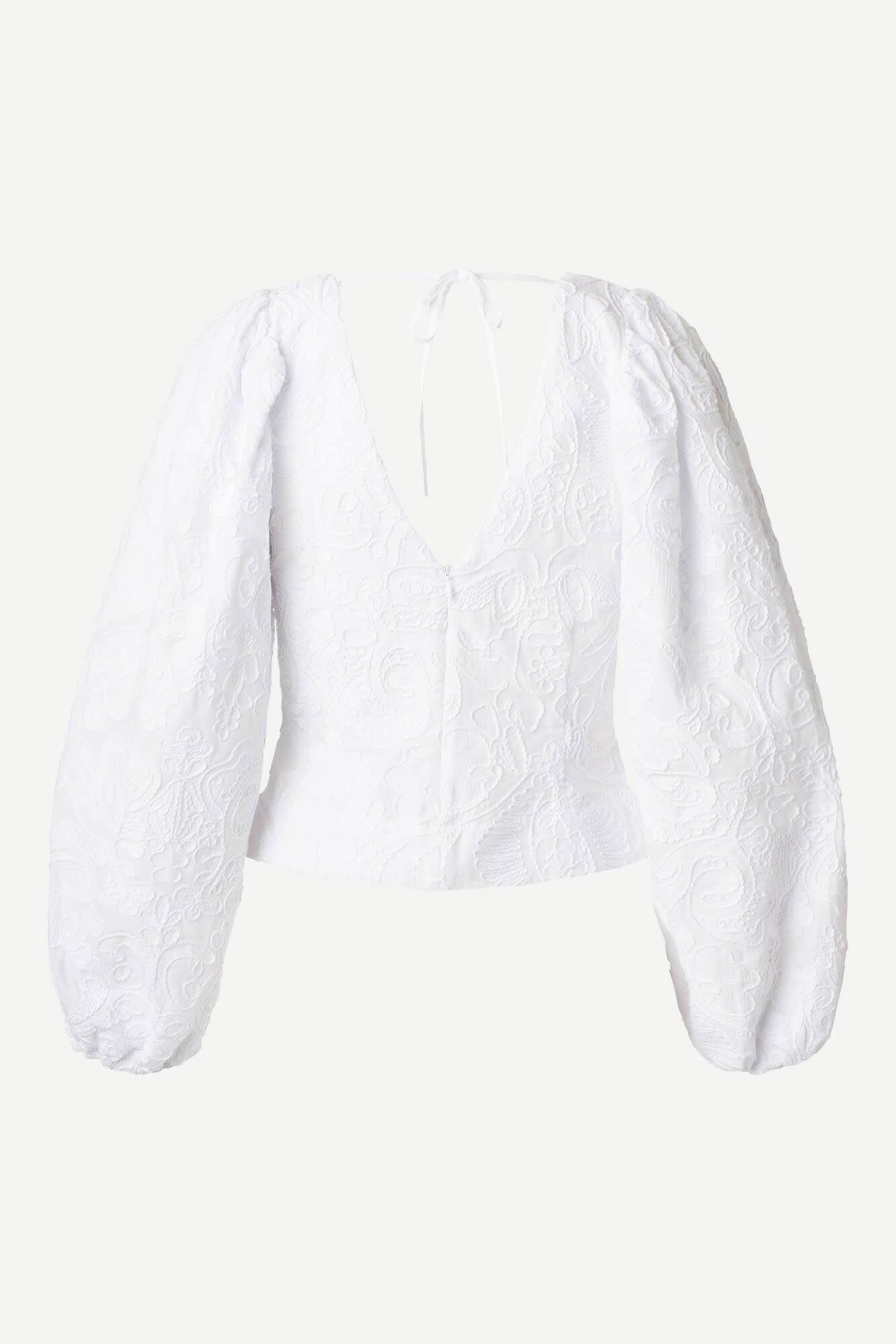 Anai Broidery Cotton Blouse White-3