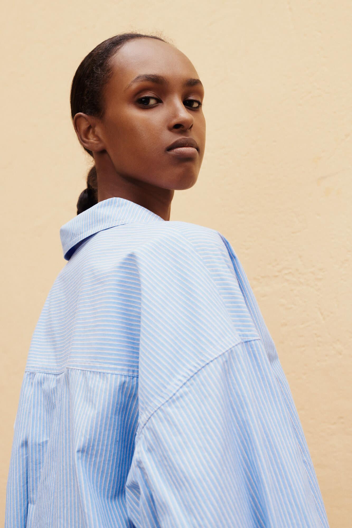 Arielle Dusty Blue Stripe Blouse-3