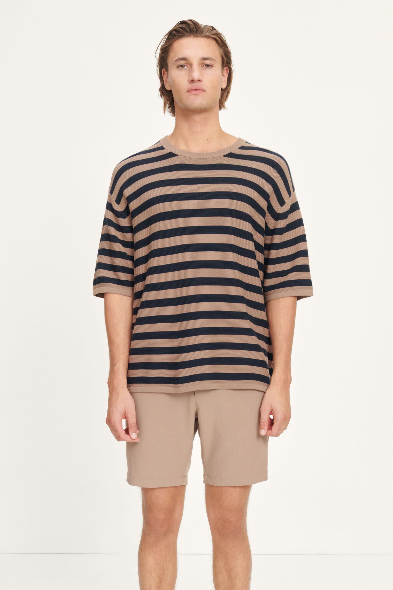 Leon Woven T-Shirt Caribou Stripe-2