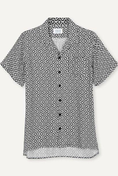 Cave Korte Mouw Shirt Zwart Wit Print