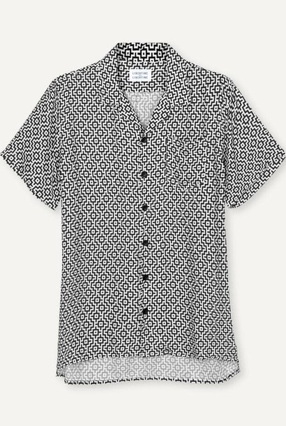 Cave Short sleeve Shirt Black White Print