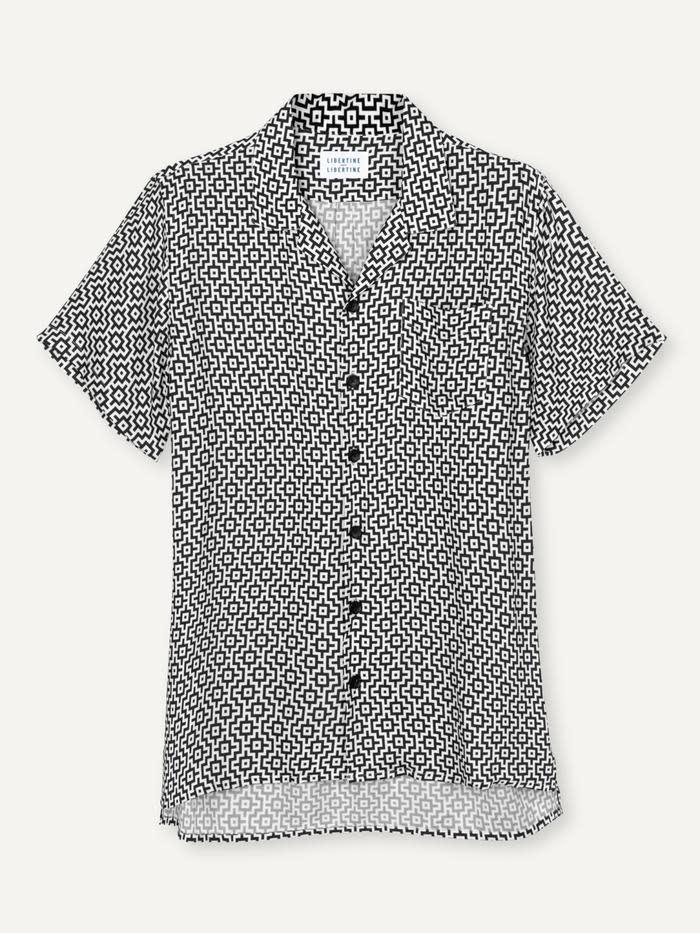 Cave SS Shirt Black White Print-1