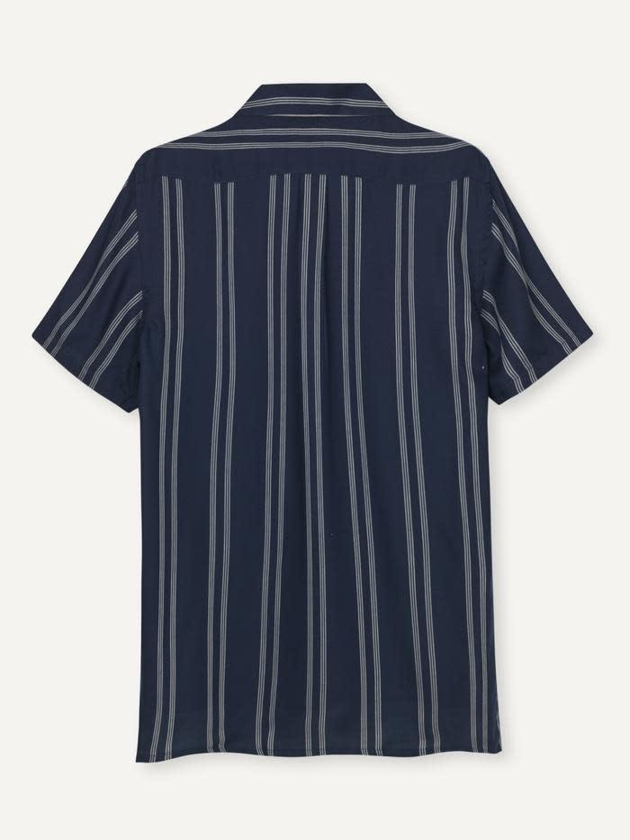 Cave SS Shirt Navy Pinstripe-2