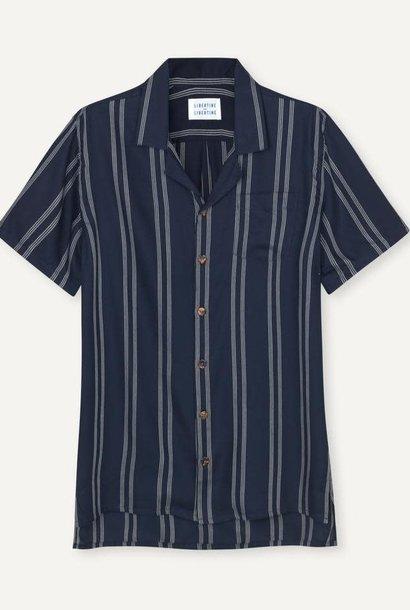 Cave SS Shirt Navy Pinstripe