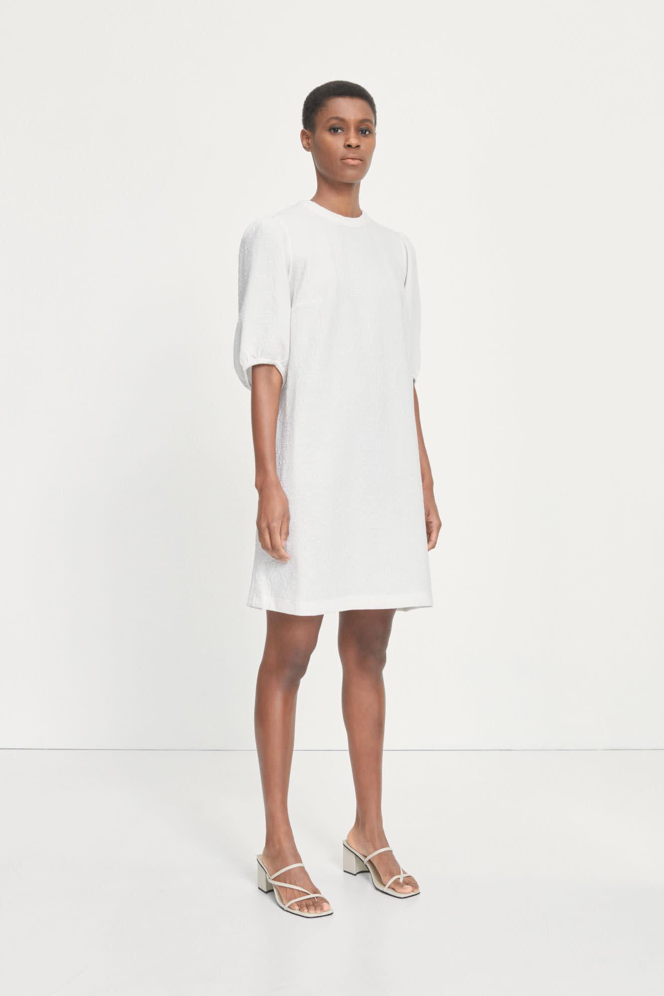 Junis Short Sleeve Dress White-2