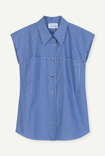 Allure Blouse Blue Pinstripe