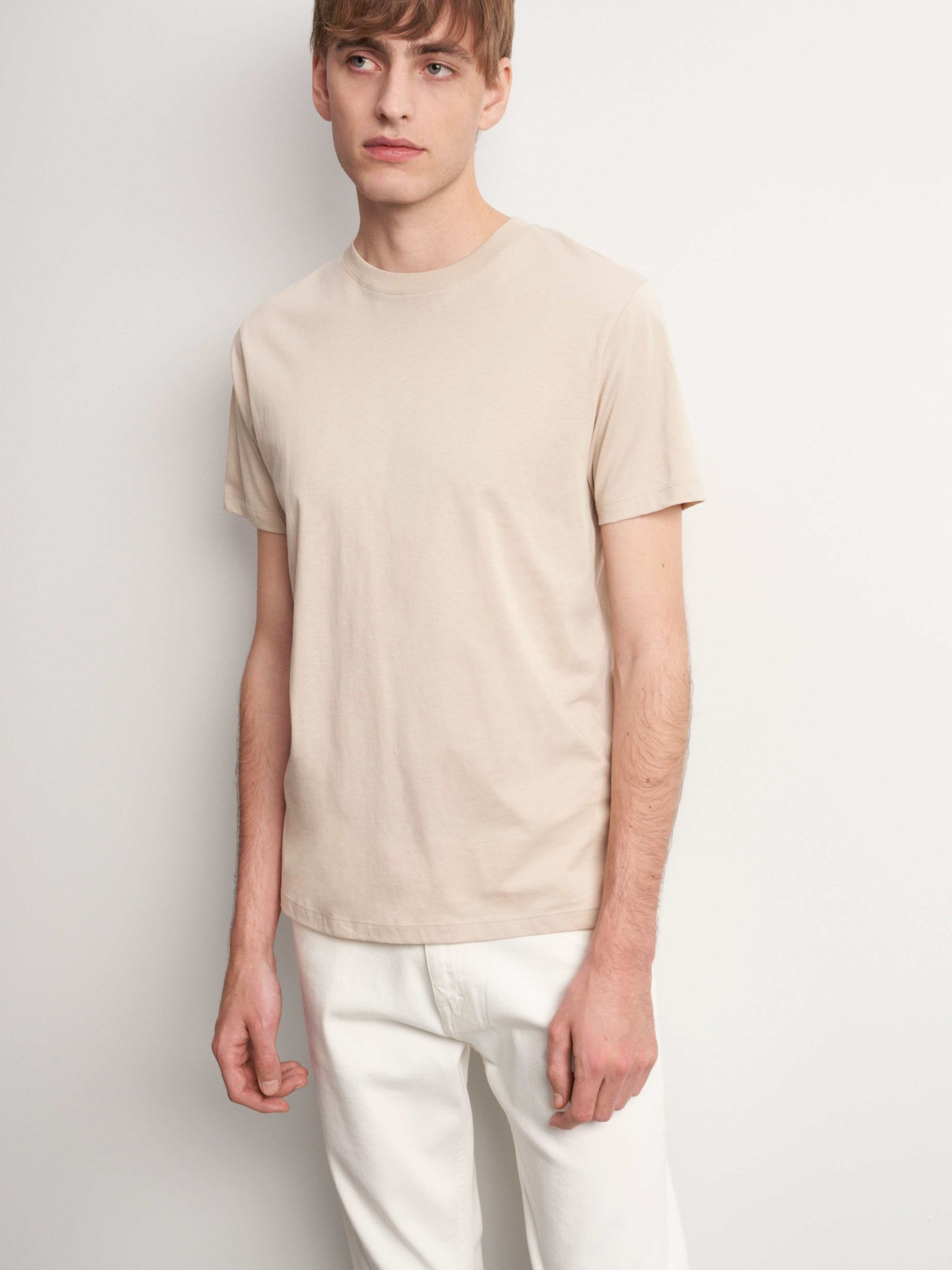 Fleek Regular Cotton T-shirts Sand White-2