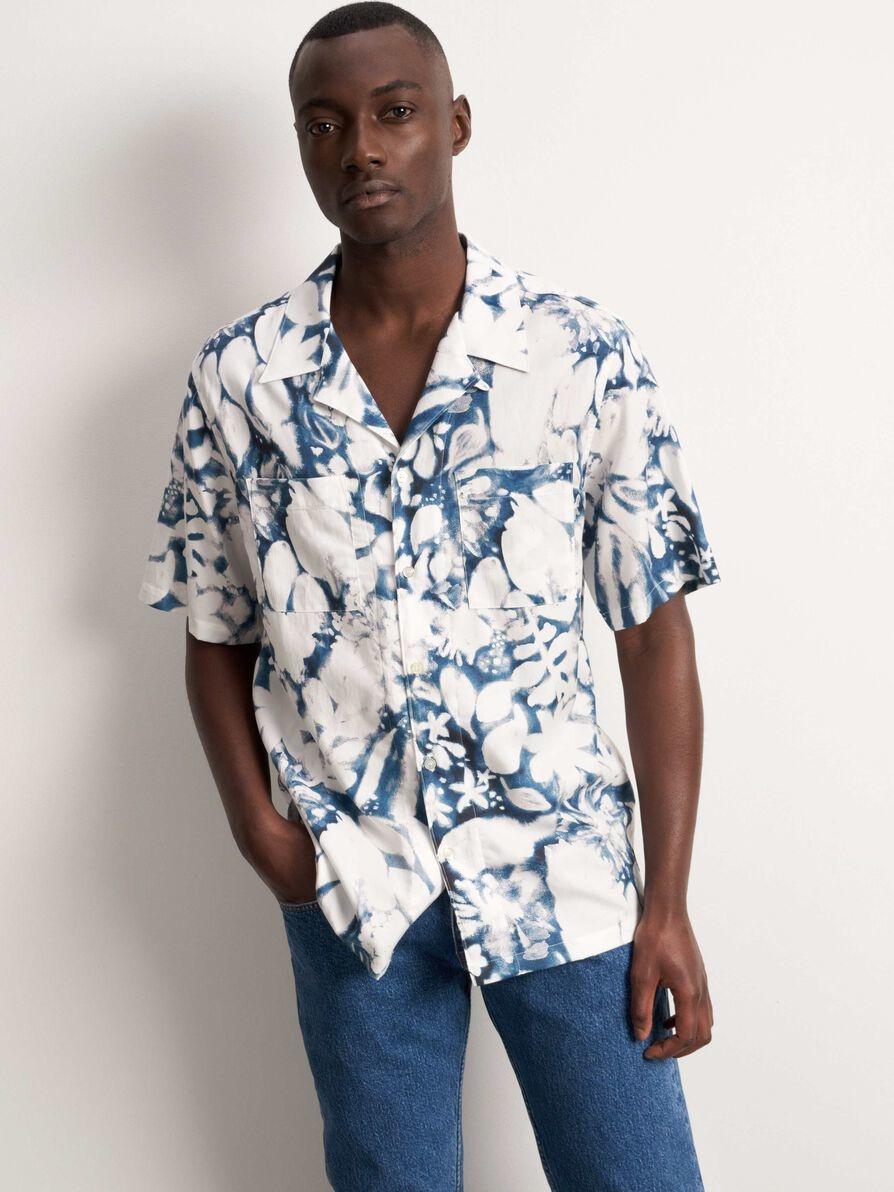 Calumn Printed Shirt White Blue-2